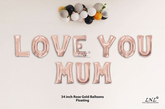 Picture of LOVE YOU MUM Rose Gold Letters 34 Inch Foil Balloons