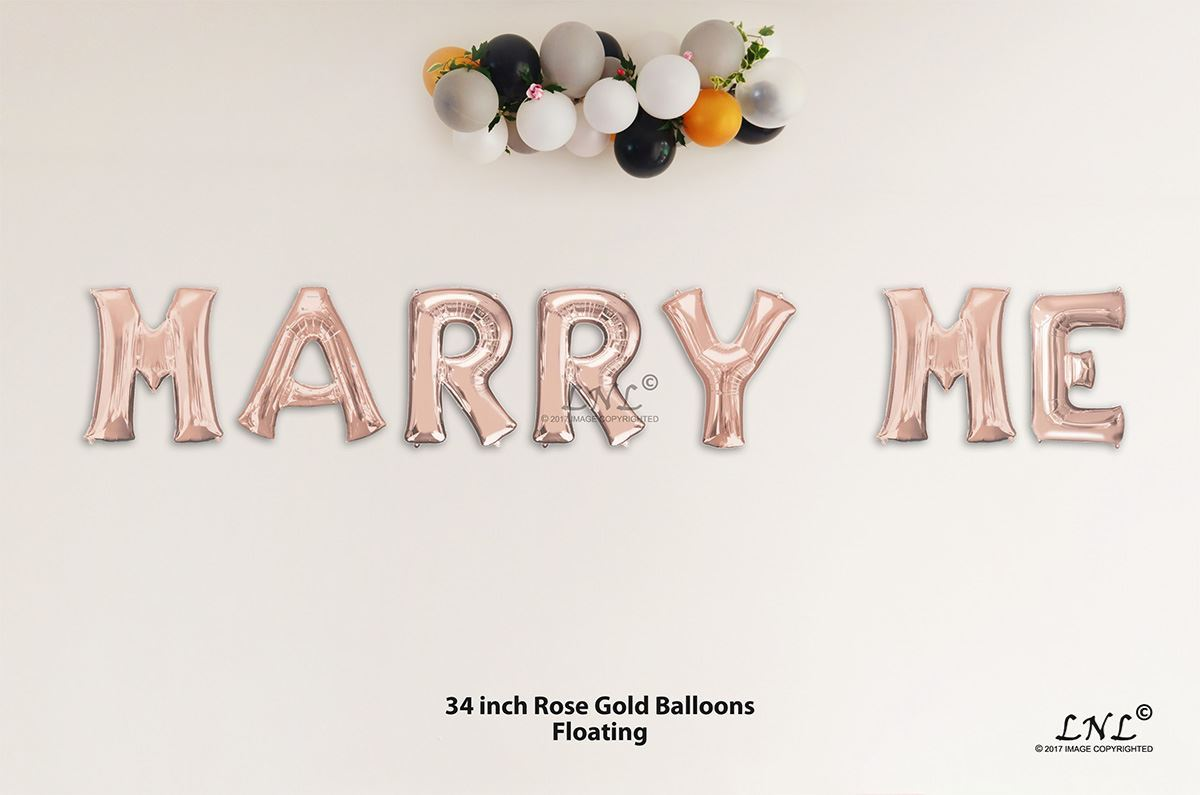 c3d15601e81 OutOfMyBubble. MARRY ME Rose Gold Letters 34 Inch Foil Balloons