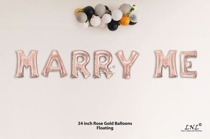 Picture of MARRY ME Rose Gold Letters 34 Inch Foil Balloons