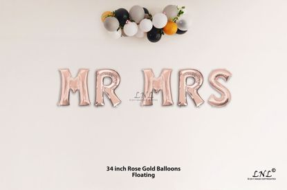 Picture of MR MRS Rose Gold Letters 34 Inch Foil Balloons