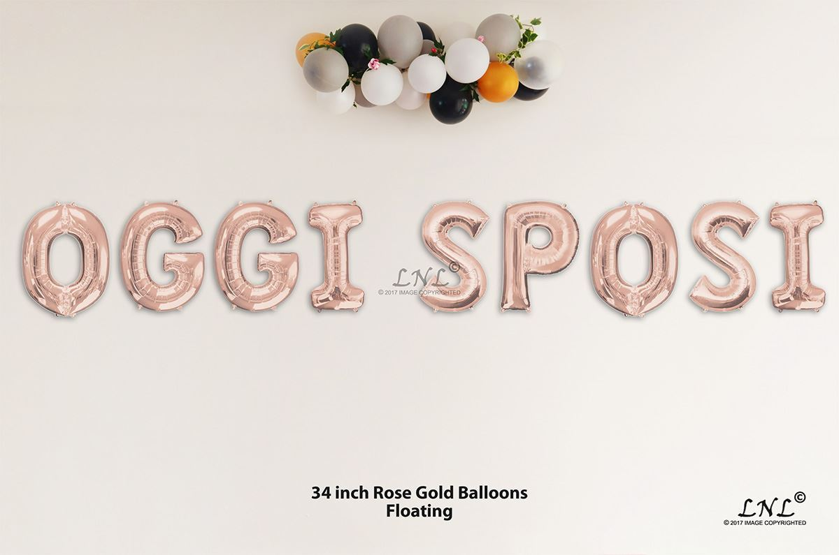 52d3f2bf2f34 OutOfMyBubble. OGGI SPOSI Rose Gold Letters 34 Inch Foil Balloons