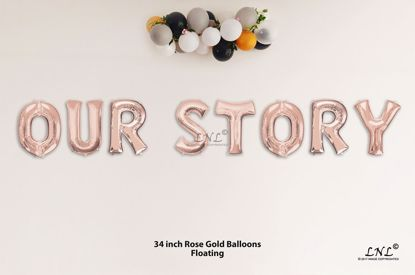 Picture of OUR STORY Rose Gold Letters 34 Inch Foil Balloons