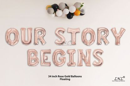 Picture of OUR STORY BEGINS Rose Gold Letters 34 Inch Foil Balloons