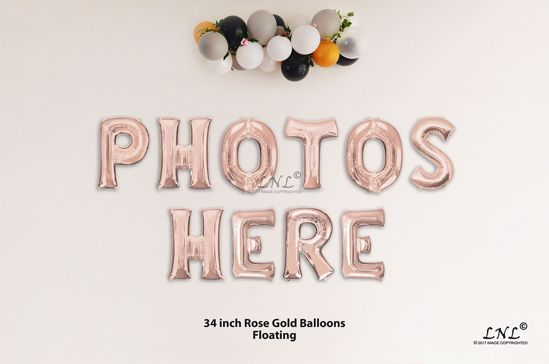 Picture of PHOTOS HERE Rose Gold Letters 34 Inch Foil Balloons