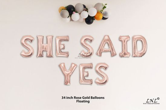 Picture of SHE SAID YES Rose Gold Letters 34 Inch Foil Balloons