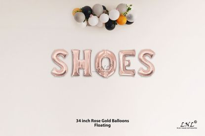 Picture of SHOES Rose Gold Letters 34 Inch Foil Balloons