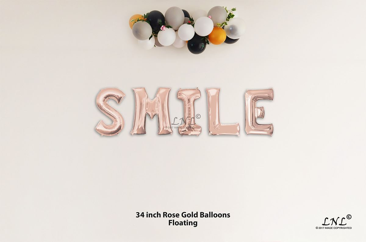 fdecb3225419 OutOfMyBubble. SMILE Rose Gold Letters 34 Inch Foil Balloons