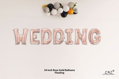 Picture of WEDDING Rose Gold Letters 34 Inch Foil Balloons