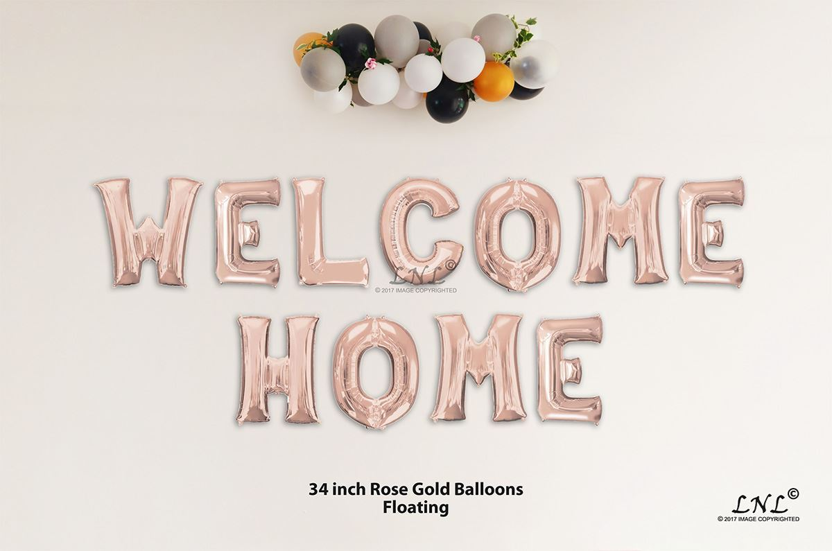 aae318f49f22 OutOfMyBubble. WELKOME HOME Rose Gold Letters 34 Inch Foil Balloons