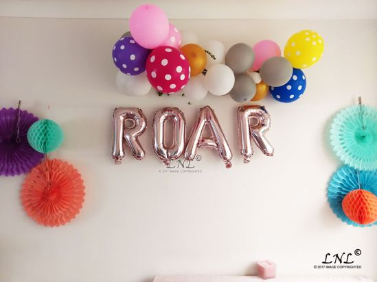 Picture of ROAR Rose Gold Silver Letter Balloons