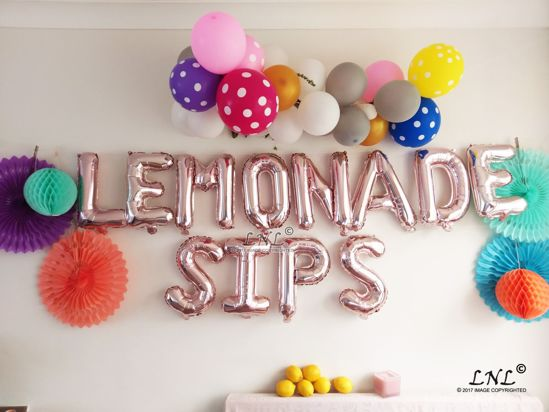 Picture of LEMONADE SIPS  Rose Gold Silver Letter Balloons