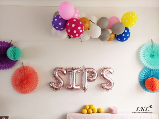 Picture of SIPS  Rose Gold Silver Letter Balloons