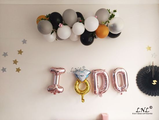 Picture of I DO  RING Rose Gold Silver Letter Balloons