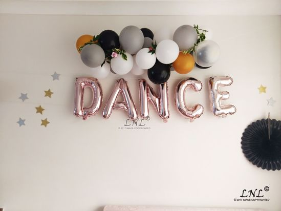 Picture of DANCE Rose Gold Silver Letter Balloons