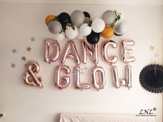 Picture of DANCE & GLOW Rose Gold Silver Letter Balloons