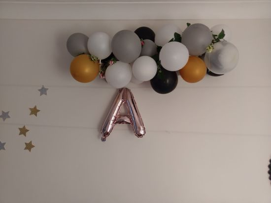 Picture of GOALS Rose Gold Silver Letter Balloons
