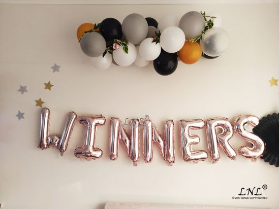 Picture of WINNERS   Rose Gold Silver Letter Balloons