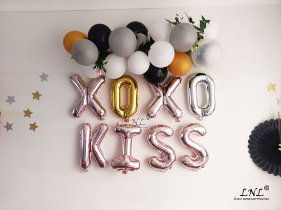 Picture of XO XO KISS Rose Gold Silver Letter Balloons