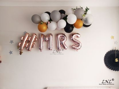Picture of # MRS Rose Gold Silver Letter Balloons