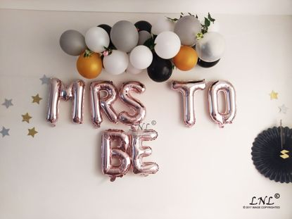 Picture of MRS TO BE Rose Gold Silver Letter Balloons