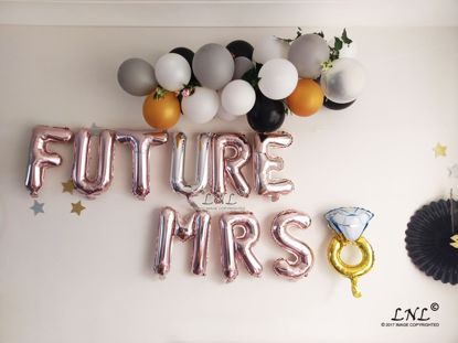 Picture of FUTURE MRS RING Rose Gold Silver Letter Balloons