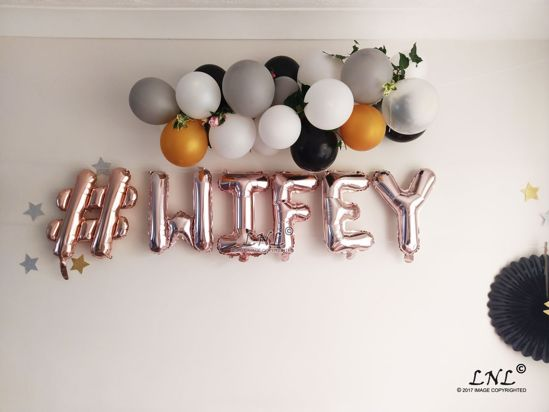 Picture of # WIFEY Rose Gold Silver Letter Balloons