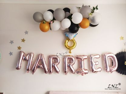 Picture of MARRIED  Rose Gold Silver Letter Balloon Garland