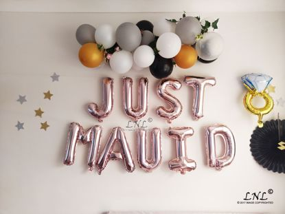 Picture of JUST MAUID Rose Gold Balloons Silver Letter Balloons Ring