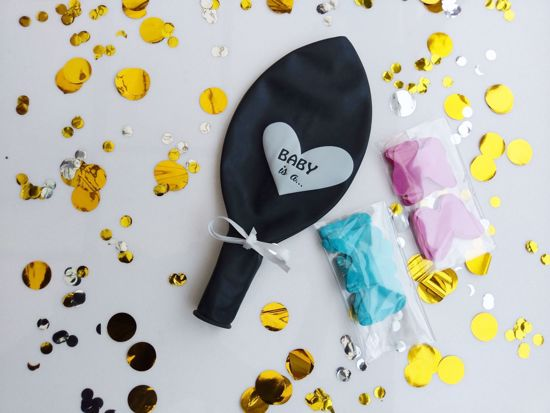 Picture of Gender Reveal Black Balloons Baby is a Confetti Blue Pink