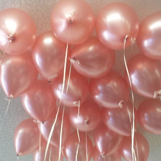 "Picture of Rose  Gold Ceiling Balloons up to 11"" Engaged Bridal"