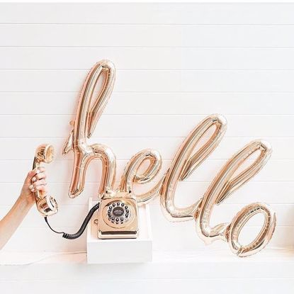 Picture of Hello Rose Gold Script balloon 31 in Gender Reveal Baby Shower