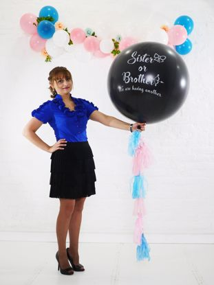 Picture of Gender Reveal Black Balloons Sister or Brother  Confetti Blue Pink Tail Tassel