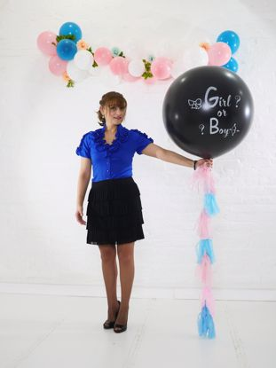 Picture of Gender Reveal Balloon Boy or Girl  Confetti Blue Pink Confetti Tail Tassel