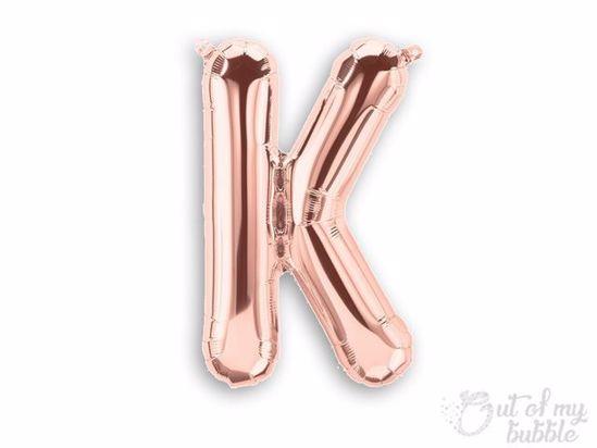 Rose gold foil balloon letter K
