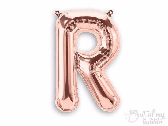 Rose gold foil balloon letter R