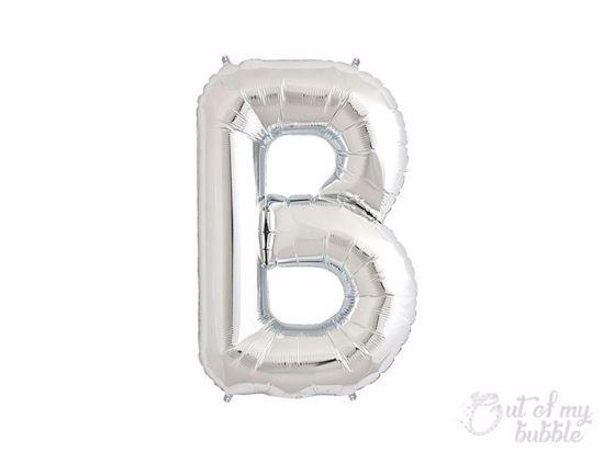 Silver foil balloon letter B