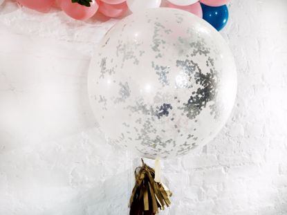 "Picture of Confetti Balloons Silver Metallic 36"" Ivy Tail"