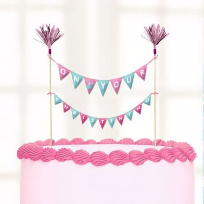 Picture of Cake Topper Christening Pink Flags Bunting