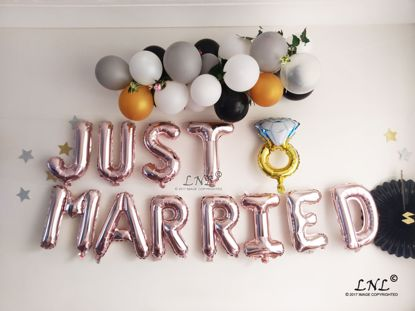 Picture of JUST MARRIED  Rose Gold Balloon Garland