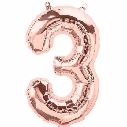 Picture of ROSE GOLD BALLOONS NUMBER 3 / 40 in HELIUM