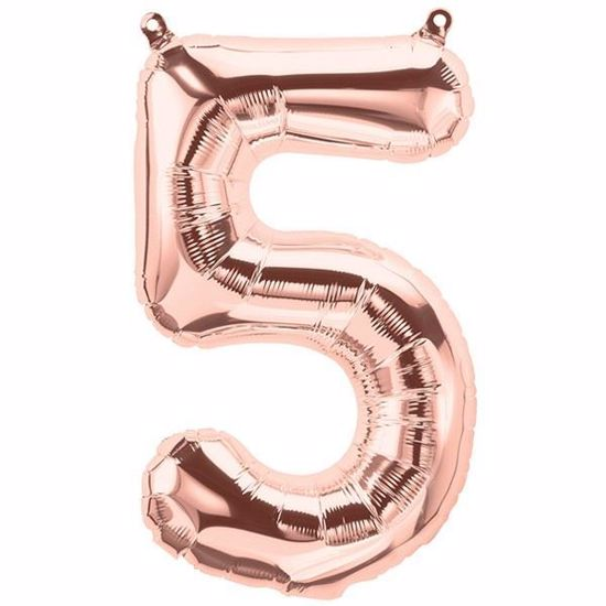 Picture of ROSE GOLD BALLOONS NUMBER 5 / 40 in HELIUM