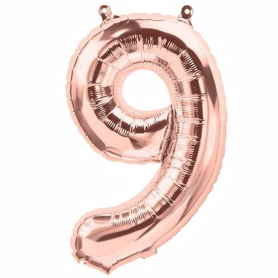 Picture of ROSE GOLD BALLOONS NUMBER 9 / 40 in HELIUM