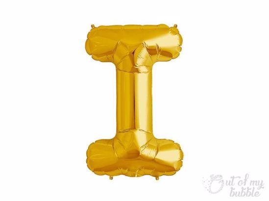 Gold foil balloon letter I