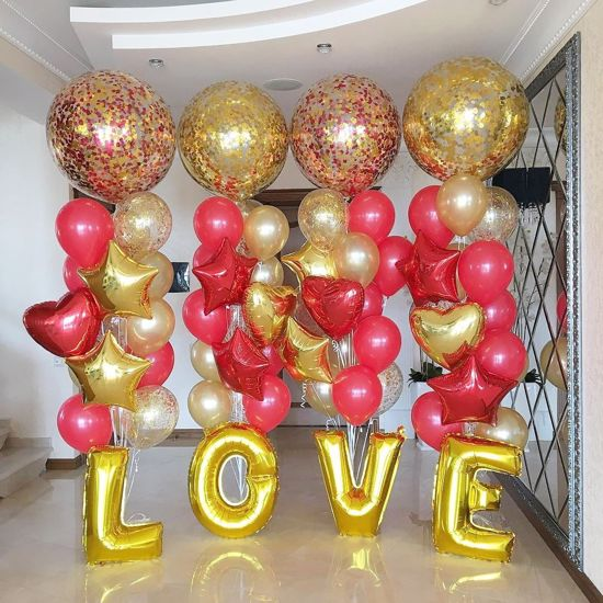 """Picture of Confetti Balloons Gold Red Metallic 36"""""""