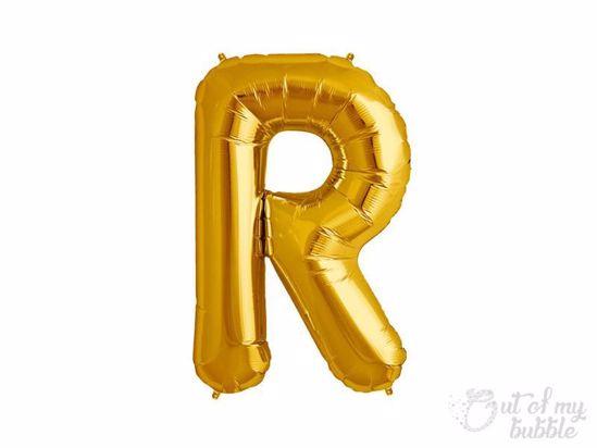 Gold foil balloon letter R