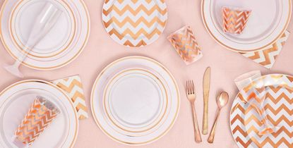 Picture of Rose Gold Chevron Premium Plastic Lunch Plates