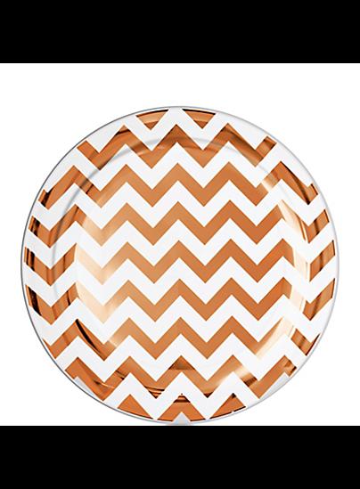 Picture of Rose Gold Chevron Premium Plastic Lunch Plates