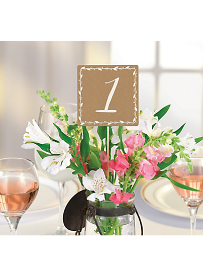 Picture of Rustic Wedding Table Number Cards 1-20 Kraft Centerpieces