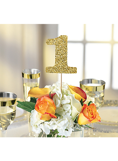 Picture of Wedding Table Number Gold Glittery Centerpieces