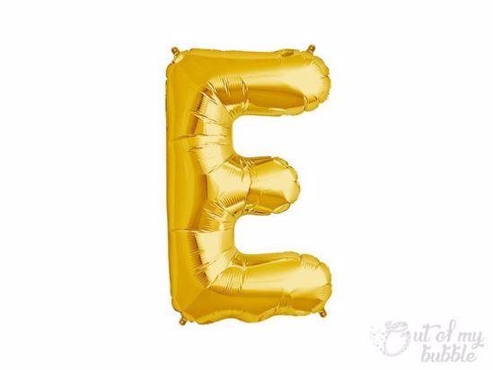 Gold foil balloon letter E